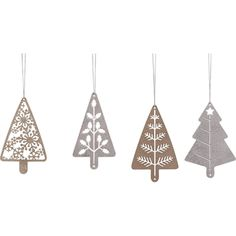 - Delightful set of 4 tree cutout ornaments - Each with its own individual cutout design - Two with gold finish, two with silver finish - Measures 3-in W x 4-3/4-in H x 1/4-in D - Metal construction w