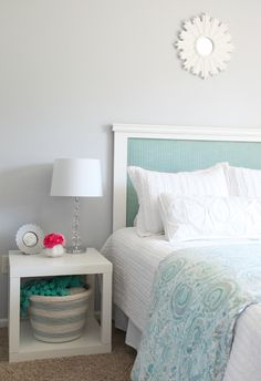 DIY Rope Basket and great idea for a headboard.  I'm not sure how the headboard was made, but it looks like maybe a DIY project....