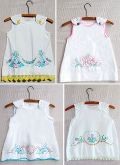 pictures of embroidered pillowcases | Children's dresses made from embroidered pillow cases. duetletterpress ...