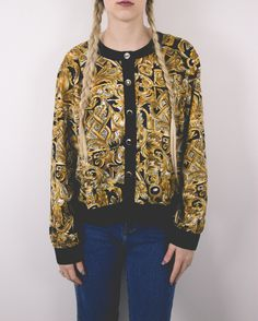Vintage 80s Gold Abstract Graphic Button Up Blouse