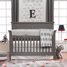 product image for Liz and Roo Grey Elephant Crib Bedding Collection