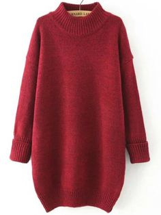 Polo Neck Dropped Shoulder Seam Red Sweater Dress