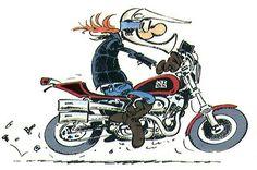 Joe Bar Team Motorcycle Posters, Motorcycle Art, Bike Art, Bd Cool, Joe Bar, Moto Journal, Bd Comics, Clipart, Caricature