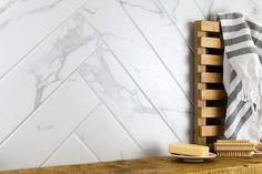 Herringbone Carrara Marble Wall and Floor Tiles Tiles from - Tons of Tiles Marble Herringbone Tile, Marble Look Tile, Marble Wall, Carrara Marble, White Marble, Room Wall Tiles, Wall And Floor Tiles, Tiles Uk, Hexagon Tiles