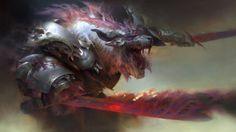 Guild Wars 2: Heart of Thorns, game, mmo, MMORPG, fantasy, monster, sword, wolf, armor, red, art, screenshot, 4k, 5k, PC, 2015