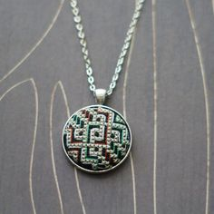 Modern geometric cross stitch necklace/ pendant by TheWerkShoppe, $38.00