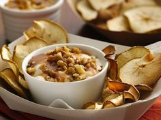 Apple Chips with Salted Caramel Yogurt Dip. 1     large Granny Smith apple   1     tablespoon fat-free caramel topping   1/4     teaspoon coarse sea salt   1     container (6 oz) Yoplait® Original 99% Fat Free apple crisp yogurt   2     tablespoons chopped walnuts