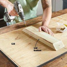 How to Build an Outdoor Storage Bench (DIY) | Family Handyman Patio Storage Bench, Diy Bench, Outdoor Storage, Wood Pallet Furniture, Diy Outdoor Furniture, Diy Furniture Projects, Diy Projects, Plywood Storage, Ideas