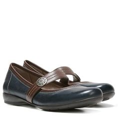 Naturalizer Garrison Shoes (Navy/Brown Leather) - 5.0 M