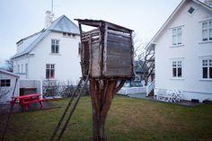 backyard trunk house in downtown Reykjavík Iceland via tents, tree houses  cabins