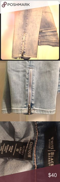 WHBM Crop Jean with Ankle Zipper WHITE HOUSE BLACK MARKET CONTOUR SKINNY CROP 10 light stone washed jeans- gently used, basically new! 👖👠 White House Black Market Jeans Ankle & Cropped