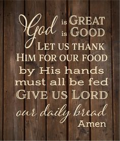 God is Great God is Good Give us Lord Our Daily Bread Amen Prayer Wood Sign or Canvas - Thanksgiving, Christmas, Hostess Gift, by HeartlandSigns on Etsy