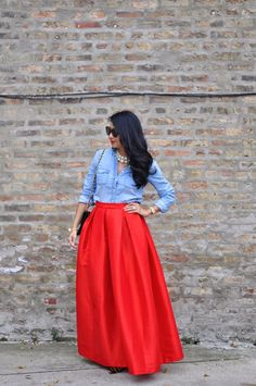 Red Maxi Skirt with Chambray Shirt