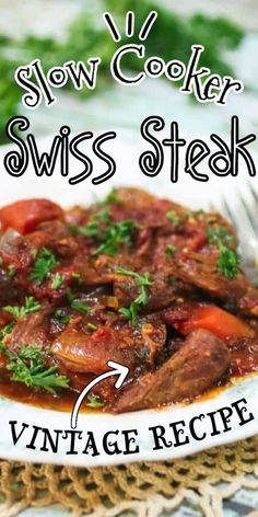 Classic Swiss Steak is the perfect family dinner any time of the year! It's an easy recipe for an old fashioned favorite that can be made in an oven or slow cooker.   #recipes #easy #crockpot #slowcooker Slow Cooker Recipes, Crockpot Recipes, Cooking Recipes, Crockpot Dishes, Slow Cooking, Ww Recipes, Drink Recipes, Soup Recipes, Cooking For Beginners