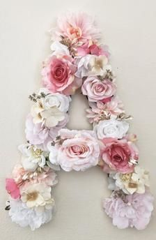 Gold Nursery Decor, Floral Nursery, Nursery Themes, Nursery Ideas, Diy Letters, Flower Letters, Nursery Letters, Letter Wall Decor, Bridal Shower Decorations