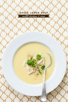 Greek Lemon Soup with Chicken and Orzo