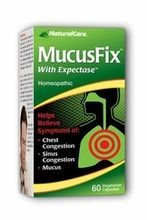 NaturalCare MucusFix 60 Vegetarian Capsules #22969, For relief of mucus congestion due to colds, chest and sinus congestion, expectoration of mucus, ...