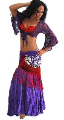 TRIBAL BELLY DANCE COSTUME (RED/PURPLE) - Item #2979 on www.bellydance.com