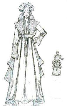 Star Wars Queen Amidala's handmaiden Sabe's Battle Dress - Original Concept Art
