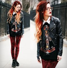 I like the rocker grunge idea of this, but I think I'd do oversized flannel under the jacket instead and boots