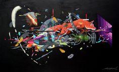 """Seher One """"Sendas de la Nueva Era"""" Acrylic on canvas 100cm x 160 cm. 2014"""