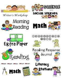 sized labels to use for your student folders and spirals. This set has labels for Math, Reading, Science, FREE. Classroom Labels, Classroom Organisation, Teacher Organization, School Classroom, School Fun, School Ideas, School Stuff, Classroom Ideas, Classroom Management