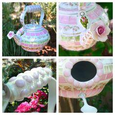 LOVE!!!! Shabby Hanging Teapot Mosaic Birdhouse