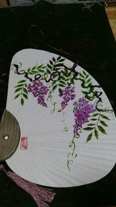 1번째 이미지 Chinese Painting, Cherry Blossom, Fans, Hand Painted, Japanese, Illustration, Fabric, Blog, Painted Fan