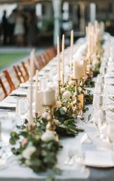 58 Ideas Wedding Centerpieces Gold Candles Candlesticks For 2019 Wedding Table Centerpieces, Wedding Decorations, Decor Wedding, Long Table Wedding, Diy Wedding, Wedding Ceremony, Dubai Wedding, Reception, Tent Wedding