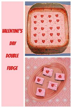 This Valentine's Day make my Double Fudge with a layer of milk chocolate and a layer pink white chocolate. #fudgerecipe #fudge #dessertrecipes | Fudge | Fudge Recipes | Dessert Recipes | Chocolate Recipes | Valentine's Day Recipes | Easy Recipes Valentine's Day Recipes Easy, Easy To Make Desserts, Fudge Recipes, Candy Recipes, Dessert Recipes, Holiday Recipes, White Chocolate Recipes, Chocolate Topping, 3 Ingredient Fudge Recipe