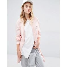 Daisy Street Longline Military Bomber With Pockets in Blush ($25) ❤ liked on Polyvore featuring outerwear, jackets, pink, longline jacket, military bomber jacket, bomber style jacket, pocket jacket and military inspired jacket