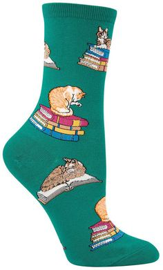 Meow! Wear these cats on books socks to that cat cafe that just opened in your town! Fits a women's shoe size 5-10.