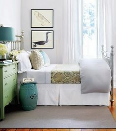 (light grey, peacock blue, green) - same style bed as in our guest bedroom ...i love the color scheme and dresser and lamp and art...yadda yadda