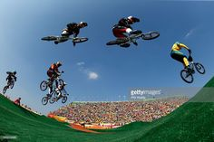 Anthony Dean of Australia, Corben Sharrah of the United States, Carlos Alberto Ramirez Yepes of Colombia, Luis Brethauer of Germany,Carlos Mario Oquendo Zabala of Colombia,Jelle van Gorkom of the Netherlands, David Graf of Switzerland and Nicholas Long of the United States compete during the Men's Semi Finals on day 14 of the Rio 2016 Olympic Games at the Olympic BMX Centre on August 19, 2016 in Rio de Janeiro, Brazil.