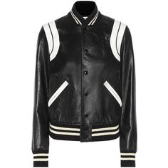 Saint Laurent Leather Bomber Jacket (€3.735) ❤ liked on Polyvore featuring outerwear, jackets, black, leather bomber jacket, 100 leather jacket, flight jacket, bomber style jacket and blouson jacket