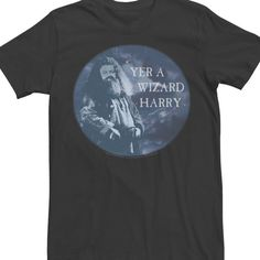 Men's Harry Potter Prisoner of Azkaban Hagrid Yer A Wizard Harry Circle Portrait Graphic Tee, Size: Large, Black