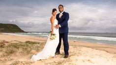 Wedding dress ideas: Bride wears an elegant fitted style dress by Lisa Le Fashion and Beauty in Wyong Plaza #weddingdress #weddingphotos #beach #bride #groom #bridalgown