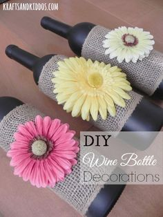 What a cute idea for a hostess gift, and we can make it our selves! DIY Wine Bottle Decoration