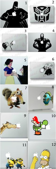 Super creative and geeky macbook decals