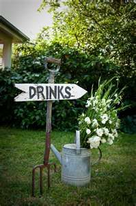 great idea for a country or backyard wedding... Also would be a great idea to have the sign read Wedding.