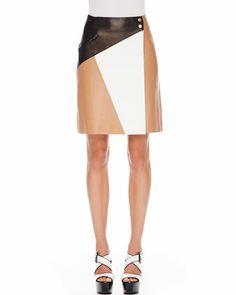Michael Kors Colorblock Leather Skirt - Michael Kors