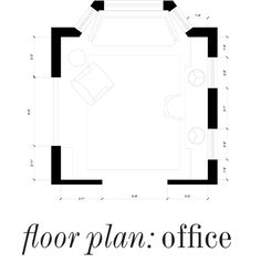 Here's the floor plan of the office (lovingly restored, old Georgian-style house in Westchester) As you can see, the room is the room is sun filled, with windows on all three sides and one large bay window that creates the perfect nook for a sofa. Storage for our client was key, so we are opting to build a custom, built-in desk on one wall with lots of drawers and cabinets.