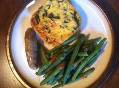 Diet-to-go quiche with green beans and a sausage for breakfast. Nom-nom!