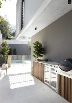 Gallery of Amaroo House / Alexandra Buchanan Architecture - 20 Outdoor Bbq Kitchen, Outdoor Barbeque, Outdoor Kitchen Design, Outdoor Kitchens, Outdoor Areas, Outdoor Rooms, Outdoor Living, Outdoor Decor, Built In Bbq