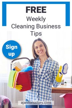 SIGN UP and get FREE weekly house and office building cleaning service business tips right inside your inbox. Learn how to start a cleaning service business with expert advice. Powerful strategies and ideas to help you grow your cleaning business. Printables | Cleaning business tips | Cleaning business forms #ajanitorsstory #professionalcleaningbusiness Building Cleaning Services, Cleaning Services Company, Cleaning Companies, Professional House Cleaning, Professional Cleaners, Cleaning Business, Business Articles, Business Tips, Business Entrepreneur