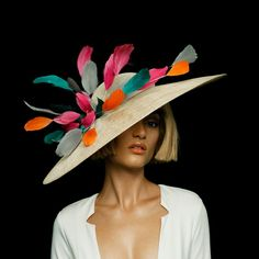 Flock | Natural sinamay East-West picture hat with abstract lacquered feathers | SS 2016