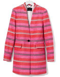 2452cca6 Banana Republic Stripe Collarless Coat Pink-orange-blue Stripes Blazer -  Off Retail - Tradesy