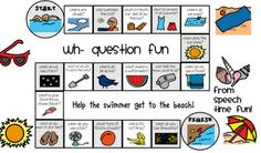 """Summer """"Wh"""" Question Game Board Free from Speech Time Fun: Use as a starting point to generating back to school conversations with personal AAC approaches when students return."""