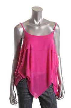 Free People NEW Pink Textured Tiered Spaghetti Strap Tank Top Shirt XS BHFO