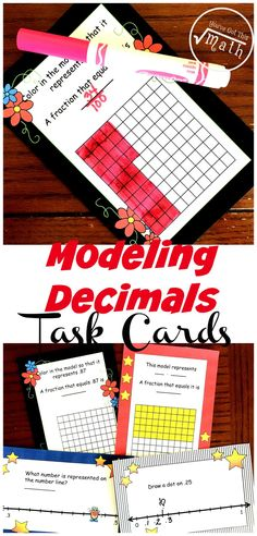 These task cards help children with modeling decimals. One set has children coloring a decimal grid to represent a decimal, while another has children figuring out the decimal represented on a decimal grid. The other two sets have children modeling decimals on number lines. Math Resources, Math Activities, Math Games, Fraction Activities, Decimal Games, Math Fractions, Dividing Fractions, Equivalent Fractions, Math Math